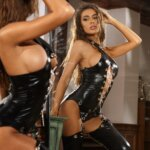 Fashionable Hot Leather Bodysuit Lady Sexy Lingerie