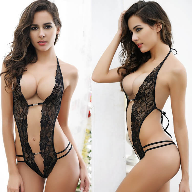 European and American sexy lace three-point lingerie
